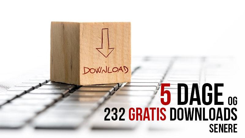 5 dage og 232 gratis download senere